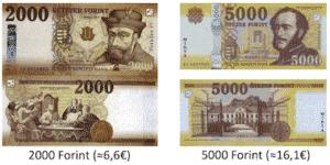 Ungarische Gelscheine und Währung 2000